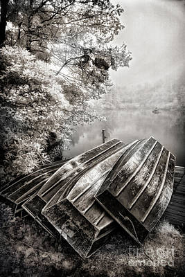 Photograph - Row Boats On Blue Ridge Parkway Price Lake Bw Fx by Dan Carmichael