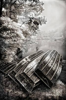 Row Boats On Blue Ridge Parkway Price Lake Bw Fx Art Print by Dan Carmichael