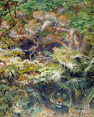 Ape Painting - Row In The Jungle by Joseph Wolf
