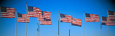 Nj Photograph - Row Of American Flags Blowing In Wind by Panoramic Images