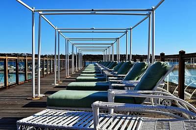 Row Of Beach Chairs Art Print by Alex Schindel