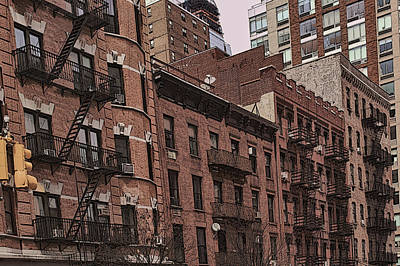 Photograph - Row Of Buildings In Nyc by Alison Frank