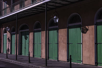 Nola Photograph - Row Of Green Doors by Garry Gay
