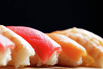 Fresh Shrimp Wall Art - Photograph - Row Of Nigiri Sushi - Black Copy Space by Susan Schmitz