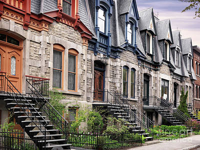 Canada Photograph - Row Of Old Town Houses On Avenue Laval In Montreal Quebec by Awen Fine Art Prints