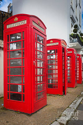 Antiquated Photograph - Row Of Phone Booths by Inge Johnsson