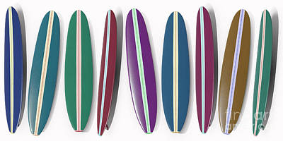 Digital Art - Row Of Surfboards by Edward Fielding