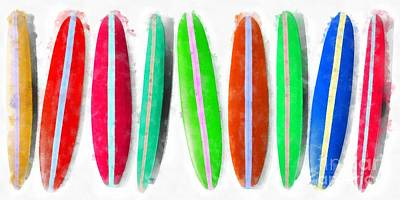 Digital Art - Row Of Surfboards Painting by Edward Fielding