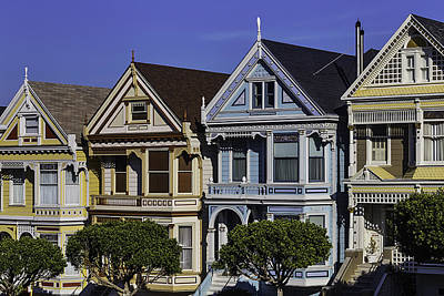 Painted Lady Photograph - Row Of Victorian Houses by Garry Gay