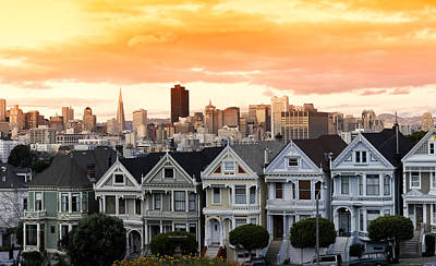 Painted Lady Photograph - Row Of Victorian Houses In A City by Panoramic Images