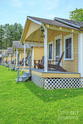 Row Of Vintage Yellow Rental Cottages Art Print by Edward Fielding
