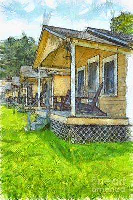 Photograph - Row Of Vintage Yellow Rental Cottages Pencil by Edward Fielding