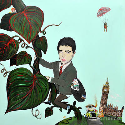 Painting - Rowan Atkinson Mr Beanstalk by Michelle Deyna-Hayward