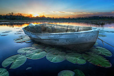 Photograph - Rowboat At Sunset by Debra and Dave Vanderlaan
