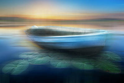 Photograph - Rowboat At Sunset Dreamscape by Debra and Dave Vanderlaan