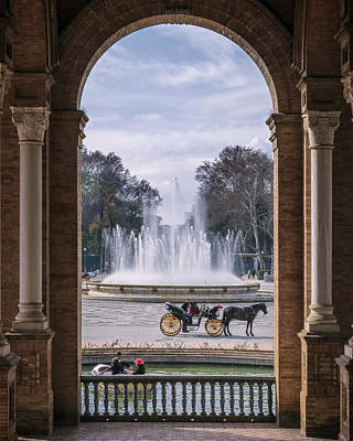 Rowboat, Fountain, Horse And Carriage Print by Joan Carroll