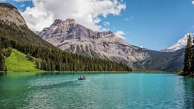 British Columbia Photograph - Rowboat On Emerald Lake by Joan Carroll