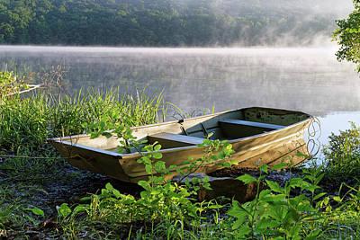 Locust Sunset Photograph - Rowboat With Fog by Delmas Lehman