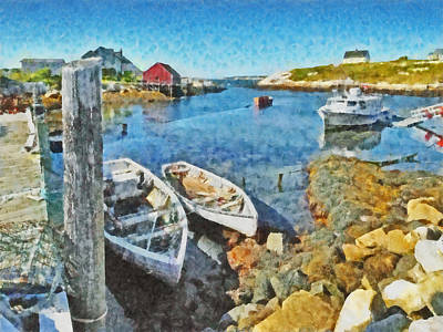 Digital Art - Rowboats At A Dock In Peggy's Cove by Digital Photographic Arts