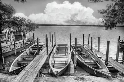 Photograph - Rowboats At The Lake In Black And White by Debra and Dave Vanderlaan