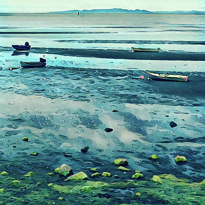 Rowboat Digital Art - Rowboats In Low Tide by Richard Hinds