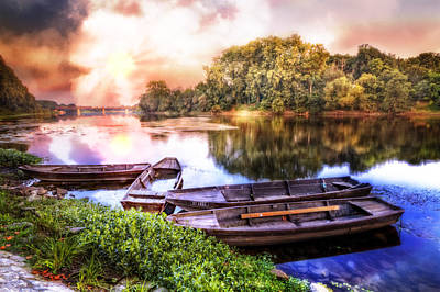 Photograph - Rowboats On The River At Dawn by Debra and Dave Vanderlaan