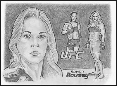 Drawing - Rowdy Ronda Rousey by Chris DelVecchio