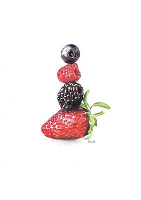Raspberry Drawing - Summer Berry Tower by Marta Gotliba