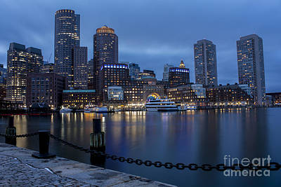 Photograph - Rowes Wharf Blue Hour 2 by Kimberly Nyce