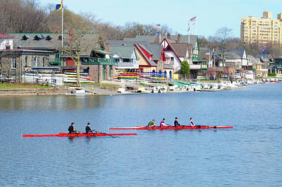 Boathouse Row Digital Art - Rowing Along The Schuylkill River by Bill Cannon