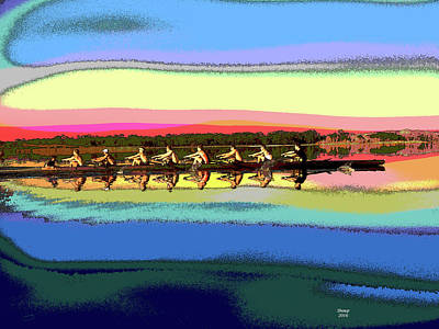 Row Boat Mixed Media - Rowing At Sunrise by Charles Shoup