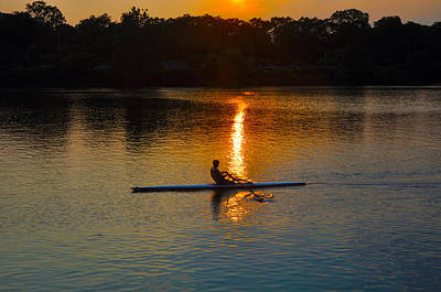 Photograph - Rowing At Sunset 2 by Bill Cannon