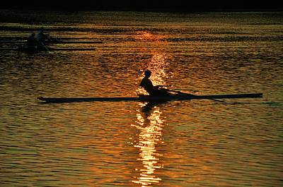 Rowing At Sunset 3 Art Print by Bill Cannon