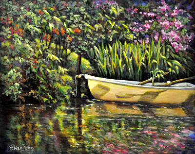 Painting - Rowing Boat In Garden Pond by Eileen  Fong