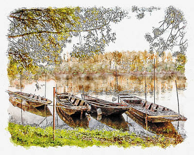 Digital Art - Rowing Boats And Punts On The Loire France by Anthony Murphy
