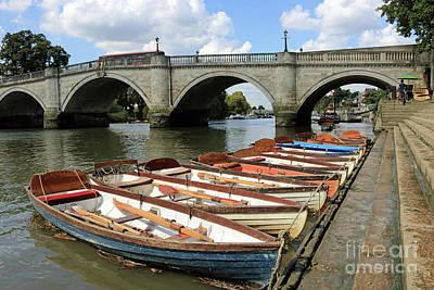 Photograph - Rowing Boats At Richmond Bridge Uk by Julia Gavin