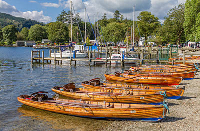 Rowing Boats In Ambleside On Lake Windermere Art Print