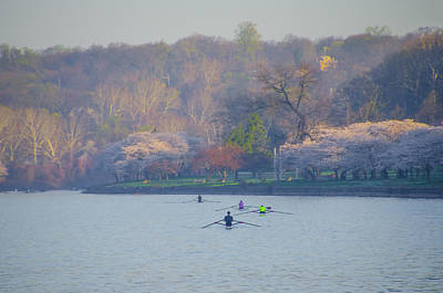 Row Boat Digital Art - Rowing In Spring - Philadelphia by Bill Cannon