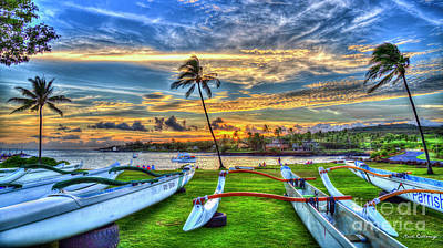Photograph - Rowing Kukui Ula Small Boat Harbor Sunset Kauai Hawaii Art by Reid Callaway
