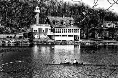 Row Boat Digital Art - Rowing Past Turtle Rock Light House In Black And White by Bill Cannon