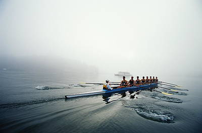 Rowing Team On Lake In Early Morning Fog Art Print by Nick Wilson