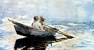Rowing The Boat Art Print by Winslow Homer