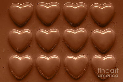 Rows Of Chocolate Hearts  Art Print by Richard Thomas