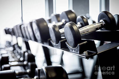 Lot Photograph - Rows Of Dumbbells On A Rack In The Gym. by Michal Bednarek