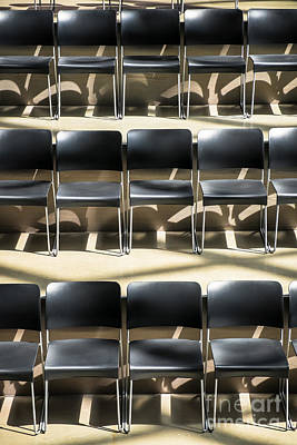 Photograph - Rows Of Empty Chairs In A Meeting Hall by Bryan Mullennix