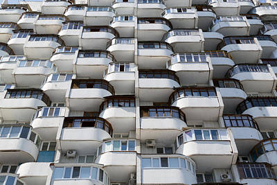 Photograph - Rows Of Old Residential Window Urban Flats by John Williams