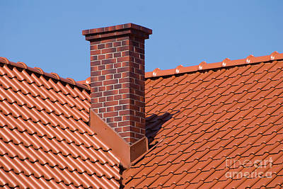 Rows Of Red Tiles Sheet Roof With Chimney Art Print