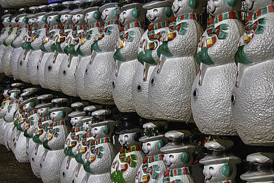 Photograph - Rows Of Snowmen 2 by Garry Gay