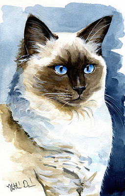 Painting - Roxy - Ragdoll Cat Portrait by Dora Hathazi Mendes