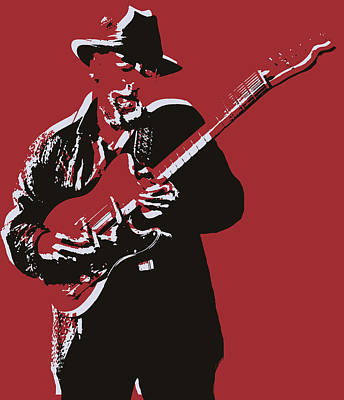 Musicians Mixed Media Rights Managed Images - Roy Buchanan Pop Art Royalty-Free Image by Dan Sproul
